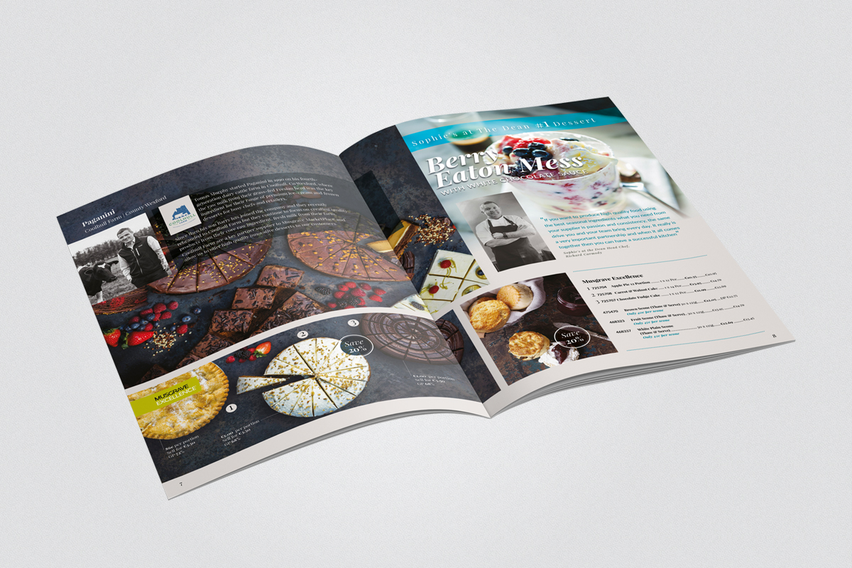 DPS layout for Food Service Magazine section on desserts