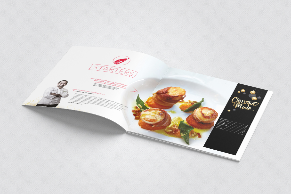 design of starters section of Christmas food service brochure