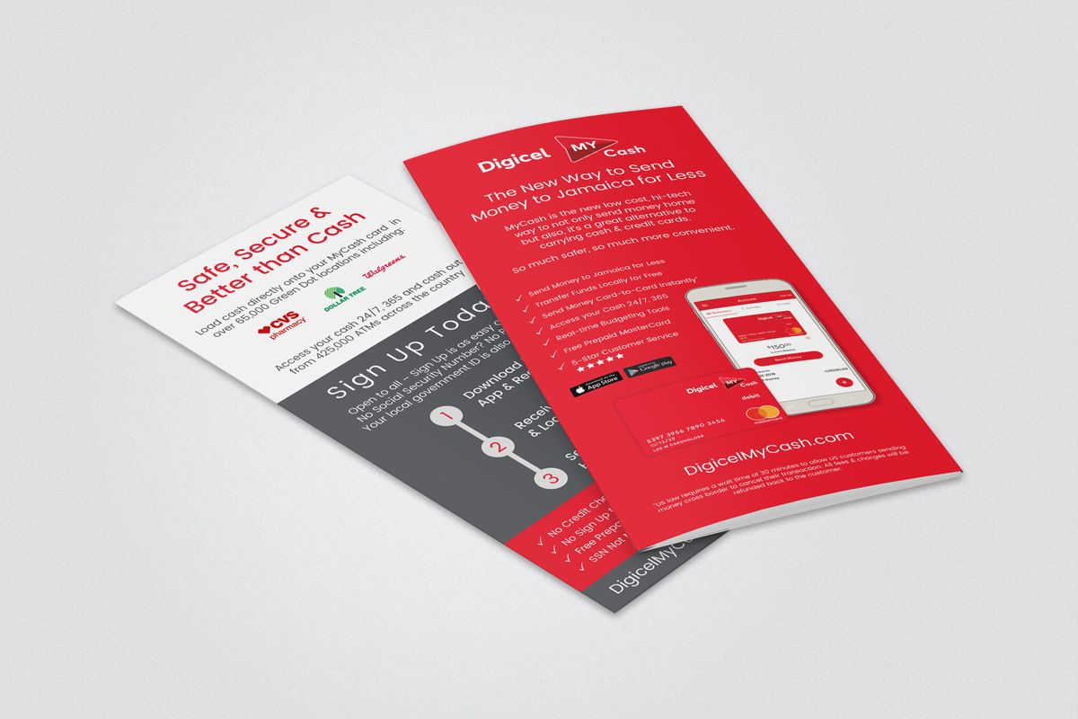 DL leaflet design for Digicel My Cash
