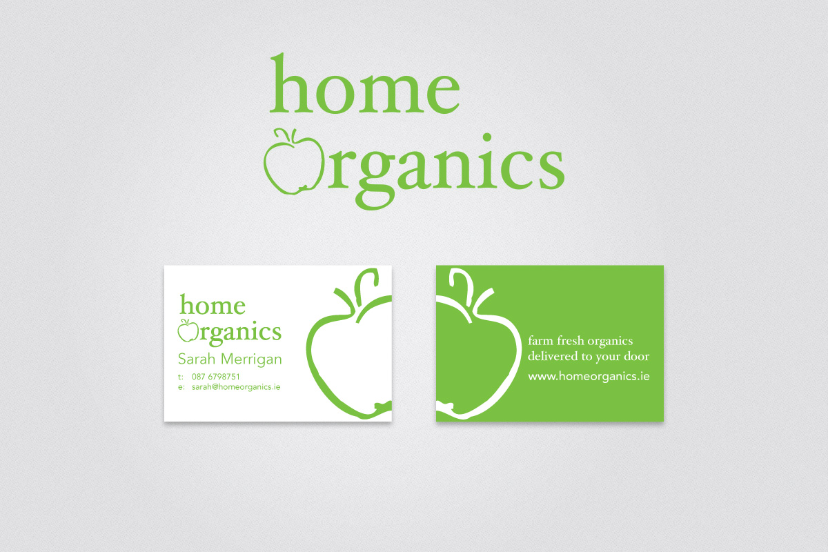 logo and business cards for Home Organics