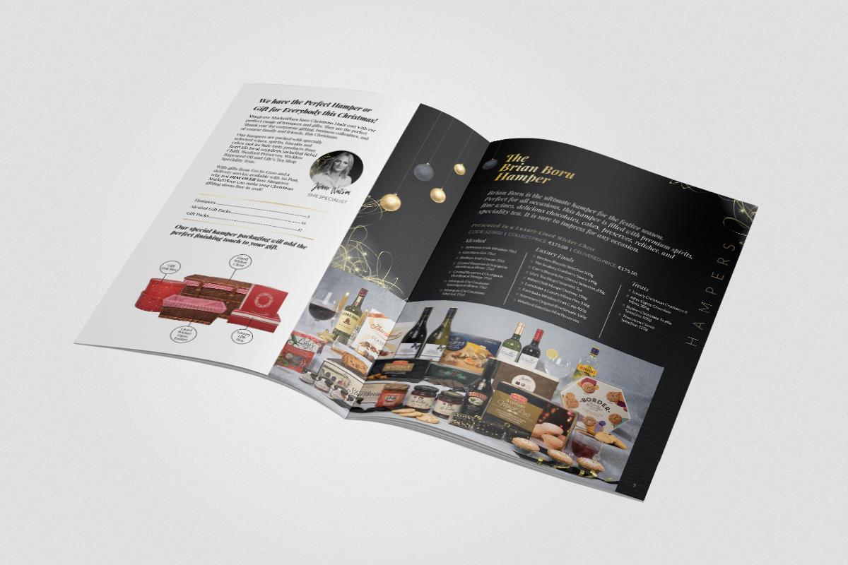 Inside design of Musgrave Market Place Christmas hampers brochure