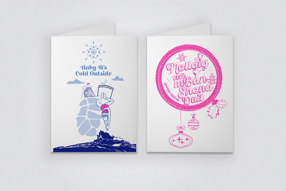 Illustrated rise printed Christmas Cards